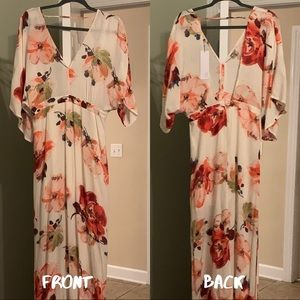 Floral Maxi with plunge neckline and low back.